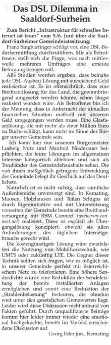"""Artikel zum Thema """"Das DSL Dilemma in Saaldorf-Surheim"""""""