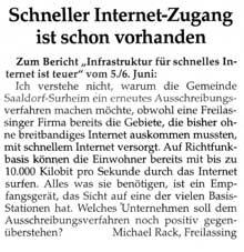 """Artikel zum Thema """"Schneller Internet-Zugang ist schon vorhanden"""""""